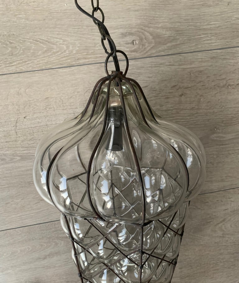 Mid-Century Modern Mouth Blown Glass in Metal Frame Pendant / Light Fixture For Sale 10