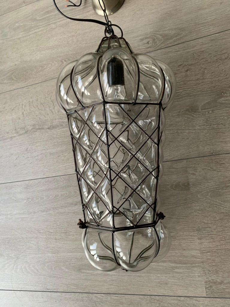 Mid-Century Modern Mouth Blown Glass in Metal Frame Pendant / Light Fixture For Sale 11