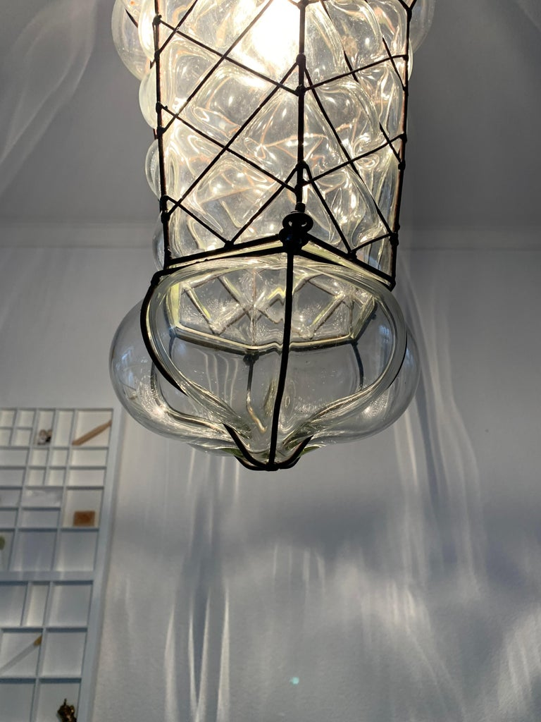 Mid-Century Modern Mouth Blown Glass in Metal Frame Pendant / Light Fixture For Sale 12