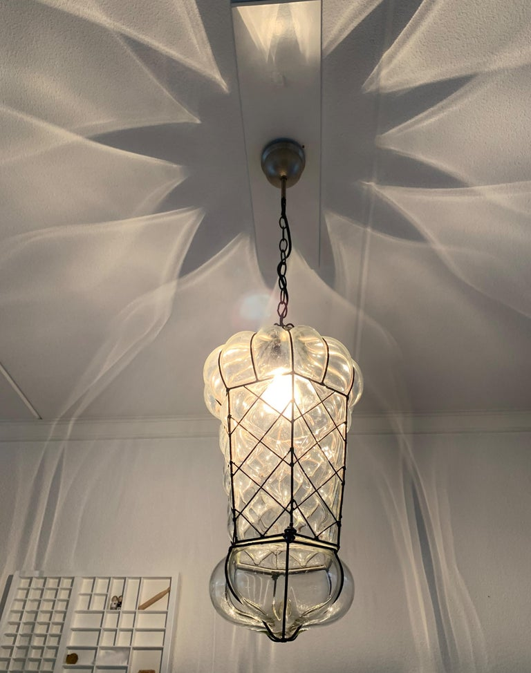 Mid-Century Modern Mouth Blown Glass in Metal Frame Pendant / Light Fixture For Sale 13