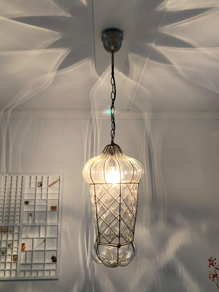 Mid-Century Modern Mouth Blown Glass in Metal Frame Pendant / Light Fixture For Sale 14
