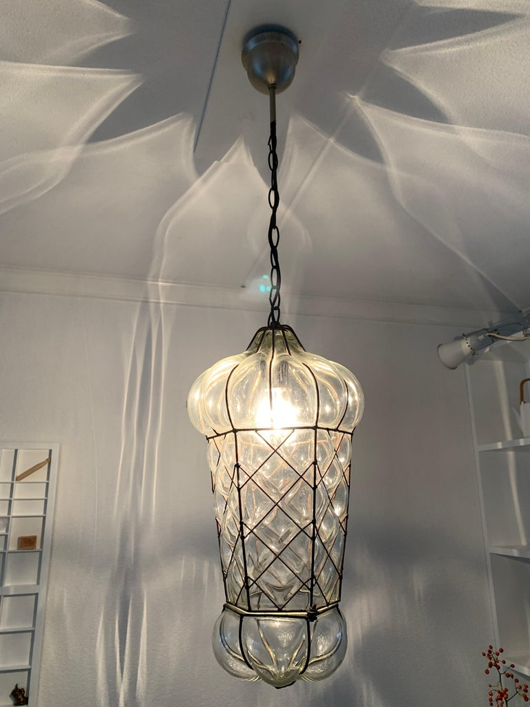 Italian Mid-Century Modern Mouth Blown Glass in Metal Frame Pendant / Light Fixture For Sale