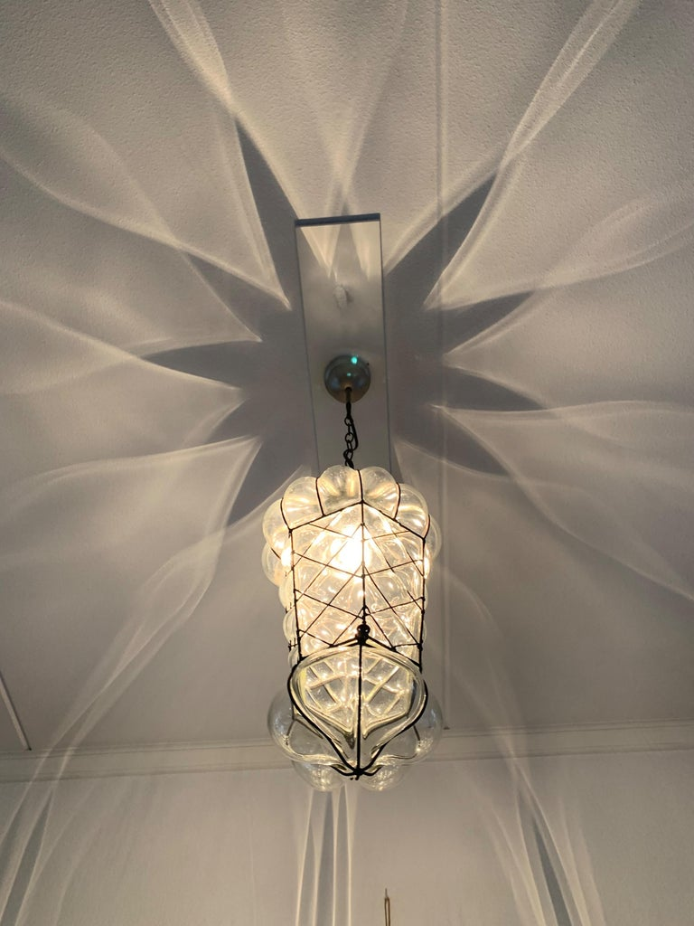 Mid-Century Modern Mouth Blown Glass in Metal Frame Pendant / Light Fixture In Excellent Condition For Sale In Lisse, NL