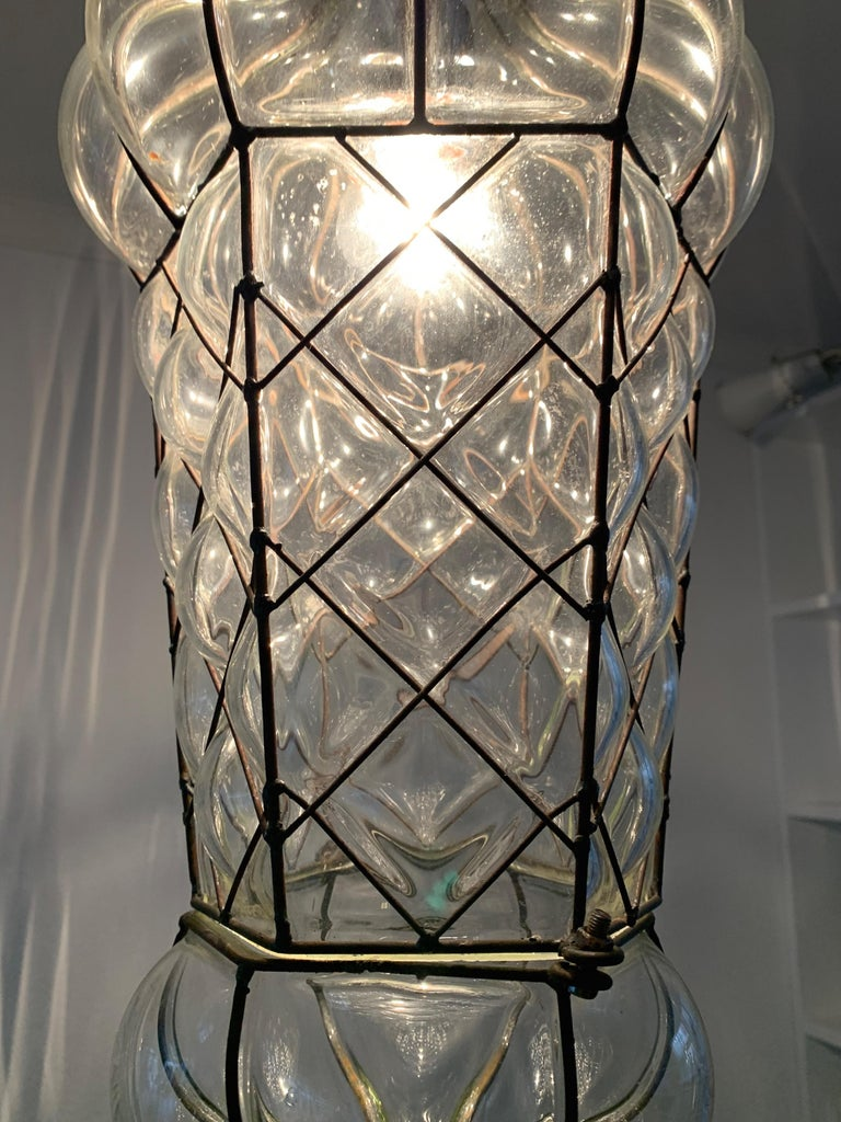 Mid-Century Modern Mouth Blown Glass in Metal Frame Pendant / Light Fixture For Sale 2