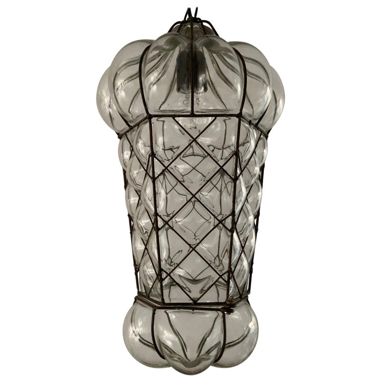 Mid-Century Modern Mouth Blown Glass in Metal Frame Pendant / Light Fixture For Sale