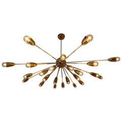 Large Mid-Century Modernist Sputniks Chandelier in Brass, Praque, 1970s