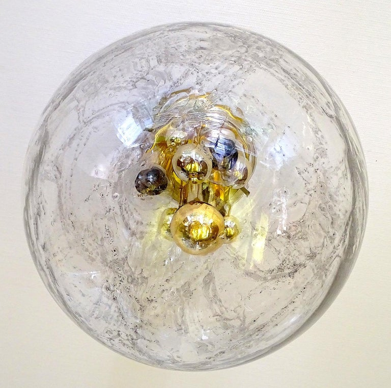 Large Midcentury Murano Glass Globe Flush Light Pendant Lamp, 1960s For Sale 3