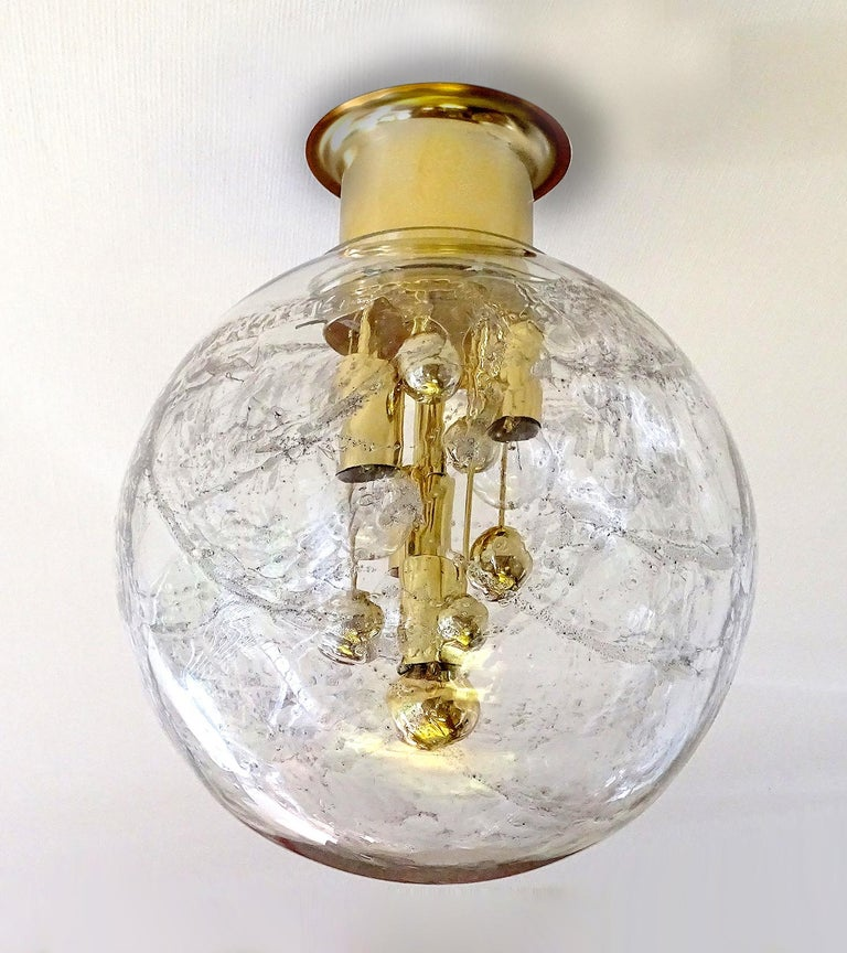 Mid-Century Modern Large Midcentury Murano Glass Globe Flush Light Pendant Lamp, 1960s For Sale