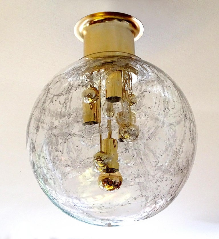 Mid-20th Century Large Midcentury Murano Glass Globe Flush Light Pendant Lamp, 1960s For Sale