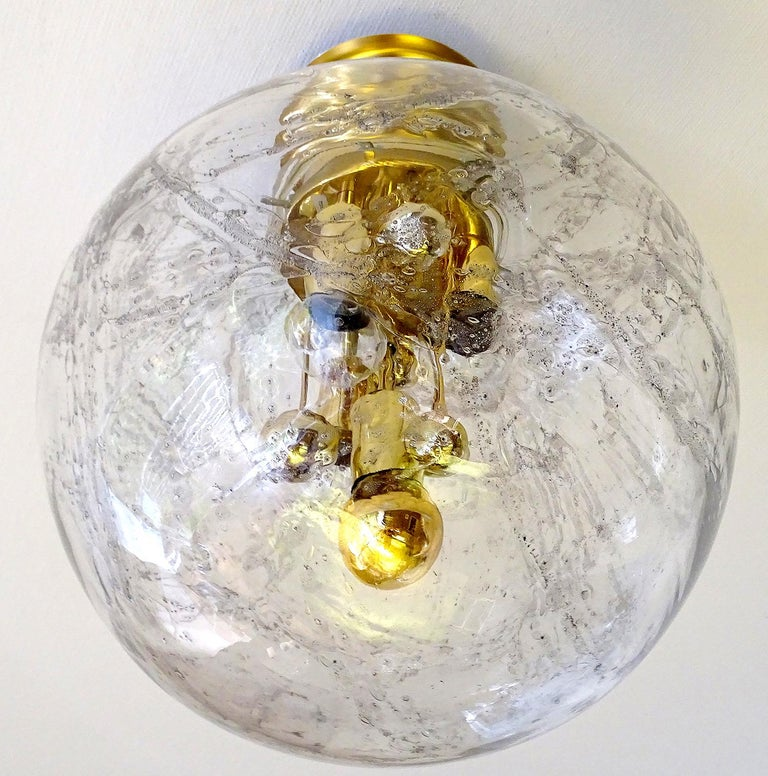 Large Midcentury Murano Glass Globe Flush Light Pendant Lamp, 1960s For Sale 1