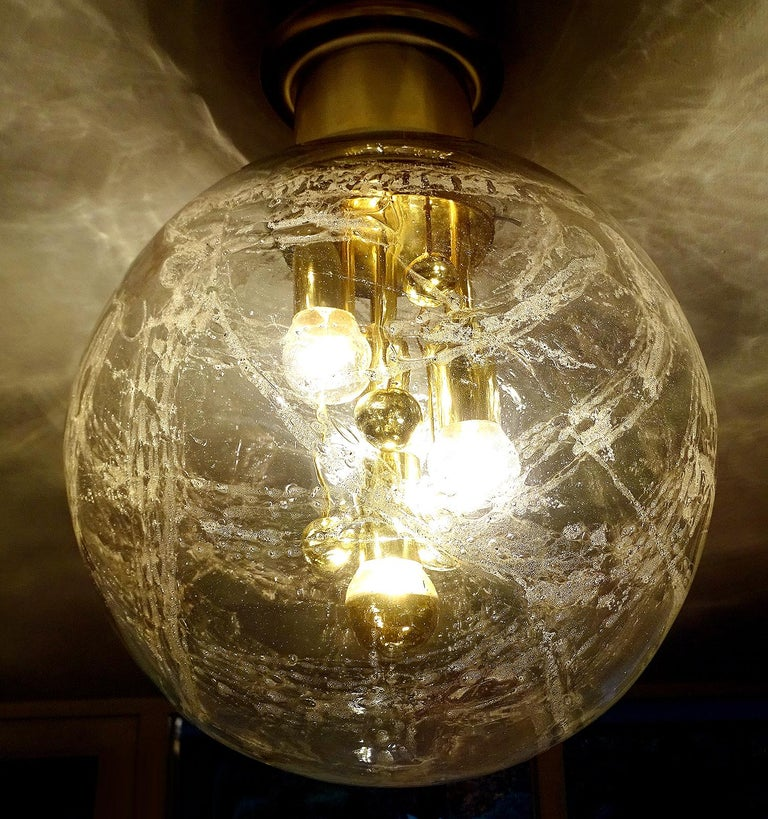 Large Midcentury Murano Glass Globe Flush Light Pendant Lamp, 1960s For Sale 2