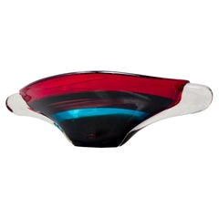 Large Midcentury Murano Glass Multi Color Center Bowl