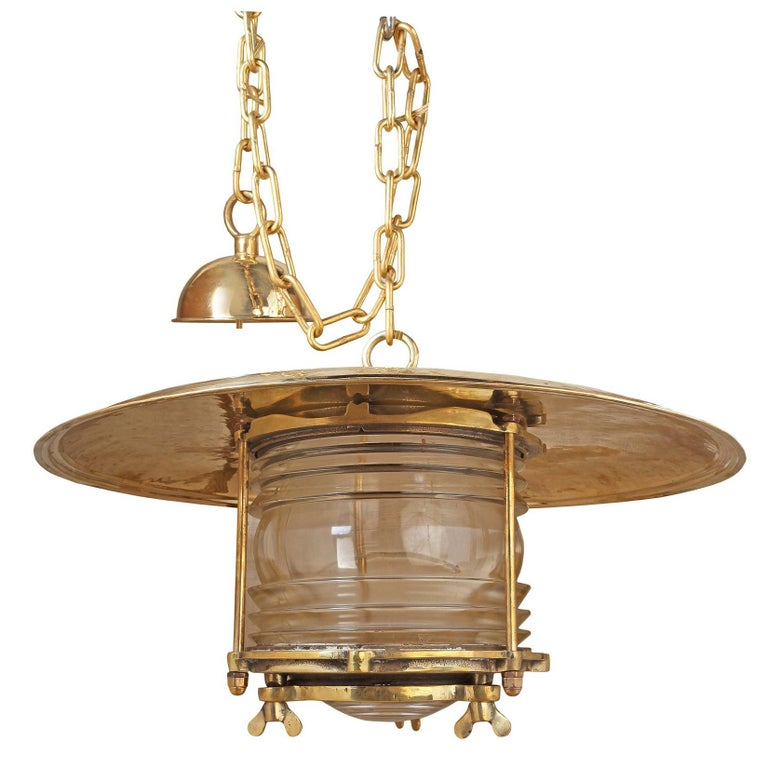 Large Midcentury Nautical Brass and Fresnel Lens Post Light, Russian For Sale