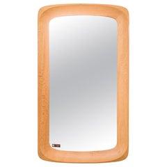 Large Midcentury Oak Wall Mirror, Glas & Trä Hovmantorp, Sweden