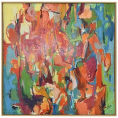 Large Midcentury Oil on Canvas, Signed and Dtd. 1961,