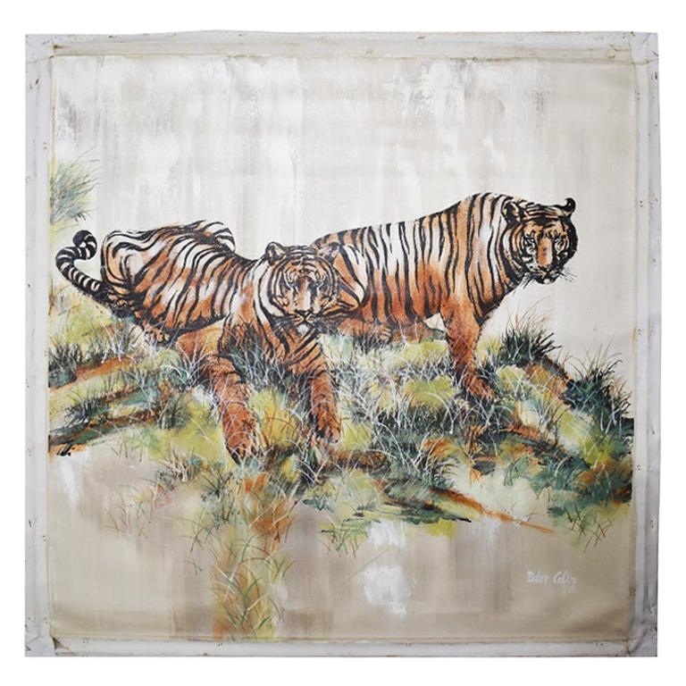 Large Midcentury Oversize Oil on Canvas Painting of Tigers by Peter Colby