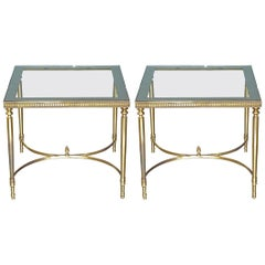 Midcentury Pair of Maison Baguès Jansen Side Sofa Tables Brass Mirror Glass