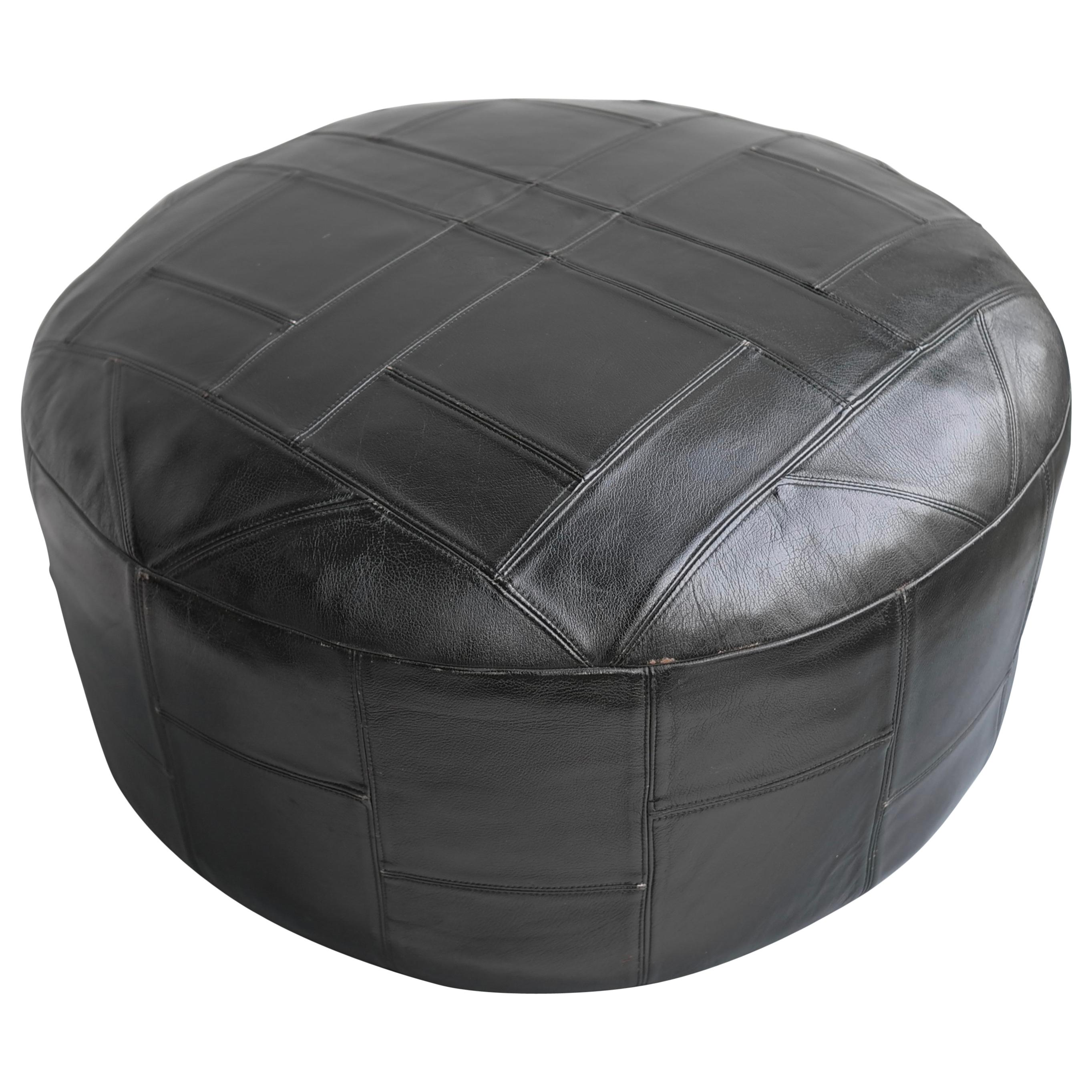Large Midcentury Patchwork Pouf in Black Leather