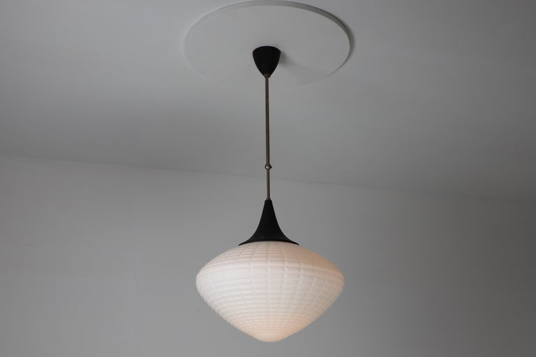 Mid-Century Modern Large Midcentury Pendant, Structured Opaline Glass, Europe, 1960s For Sale