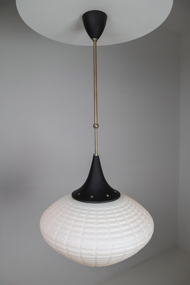 Large Midcentury Pendant, Structured Opaline Glass, Europe, 1960s In Good Condition For Sale In Almelo, NL