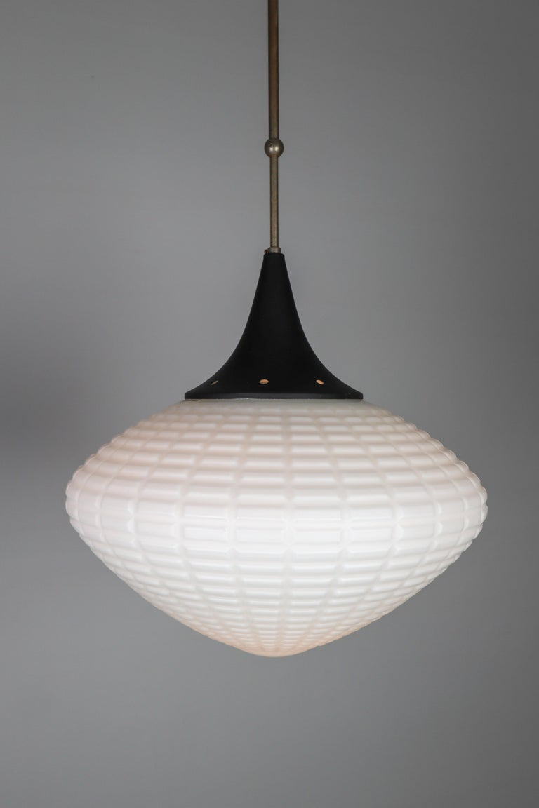 Mid-20th Century Large Midcentury Pendant, Structured Opaline Glass, Europe, 1960s For Sale