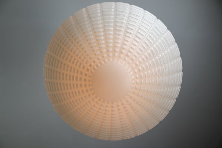 Large Midcentury Pendant, Structured Opaline Glass, Europe, 1960s For Sale 1