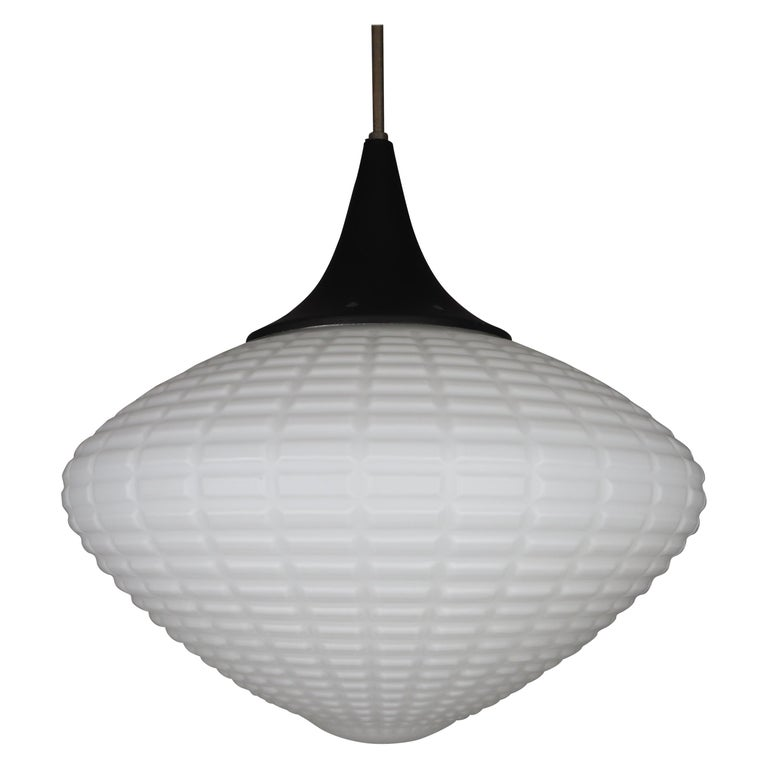 Large Midcentury Pendant, Structured Opaline Glass, Europe, 1960s For Sale