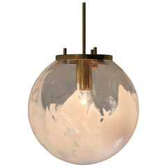 Large Midcentury Pendants in Brass and Art-Glass with White Streaks Austria 1960