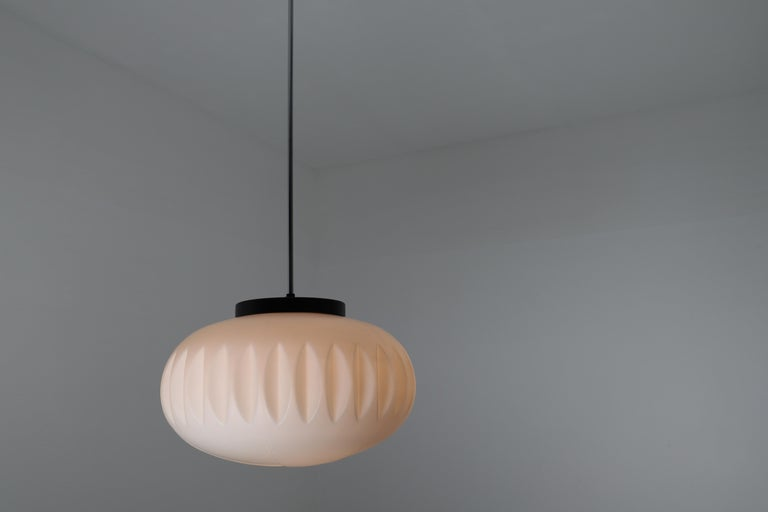 Large Midcentury Pendants, Structured Opaline Glass, Europe, 1960s For Sale 4