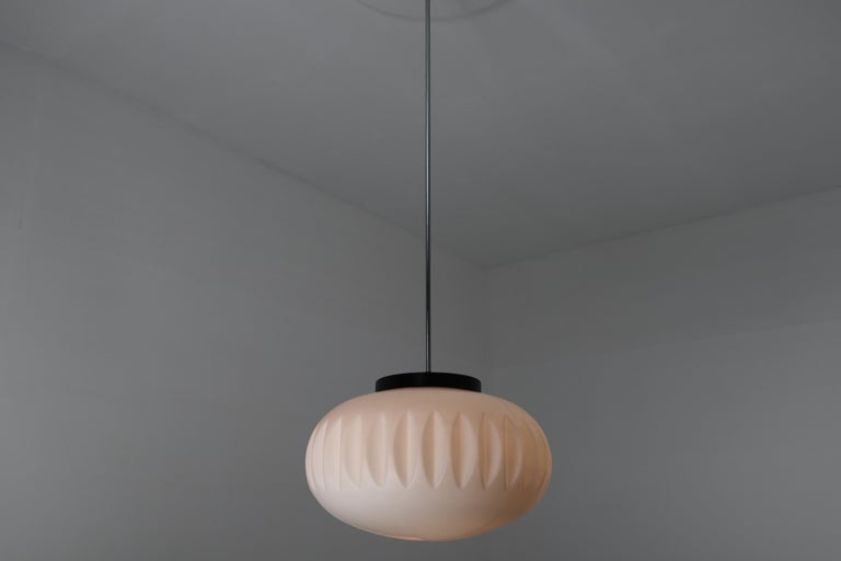 Large Midcentury Pendants, Structured Opaline Glass, Europe, 1960s For Sale 5