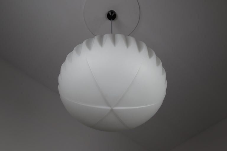 European Large Midcentury Pendants, Structured Opaline Glass, Europe, 1960s For Sale