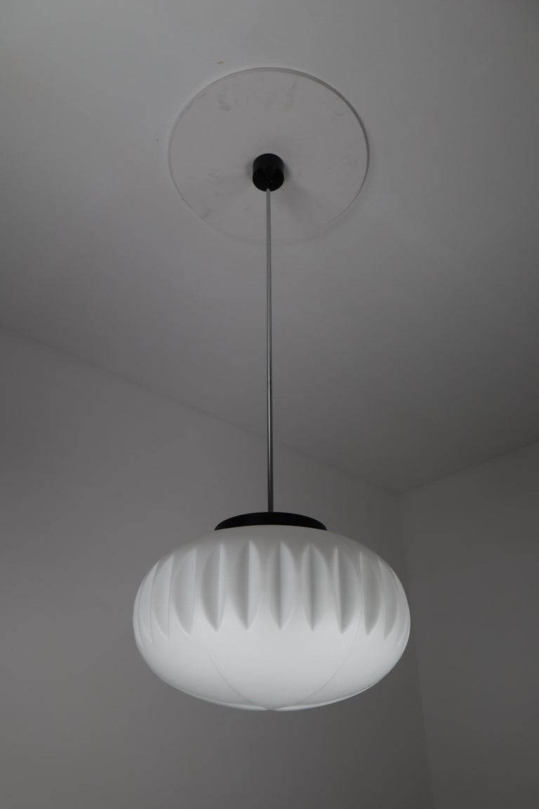 Large Midcentury Pendants, Structured Opaline Glass, Europe, 1960s In Good Condition For Sale In Almelo, NL