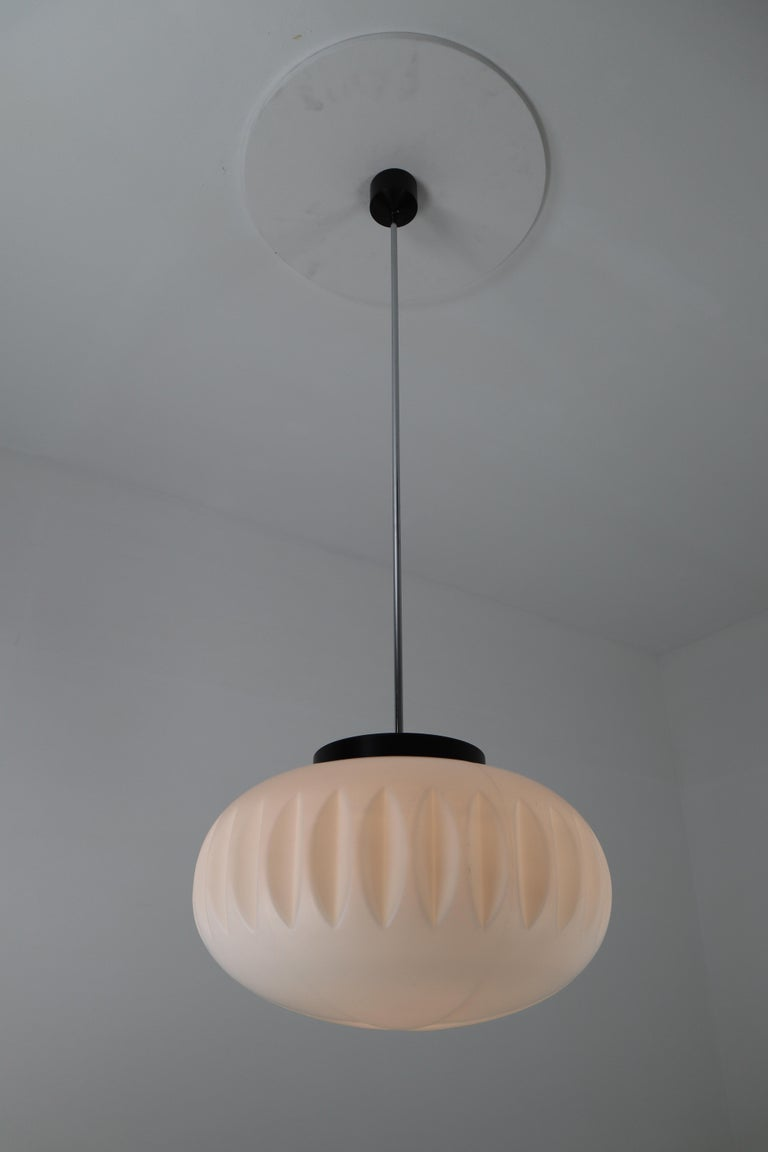 20th Century Large Midcentury Pendants, Structured Opaline Glass, Europe, 1960s For Sale