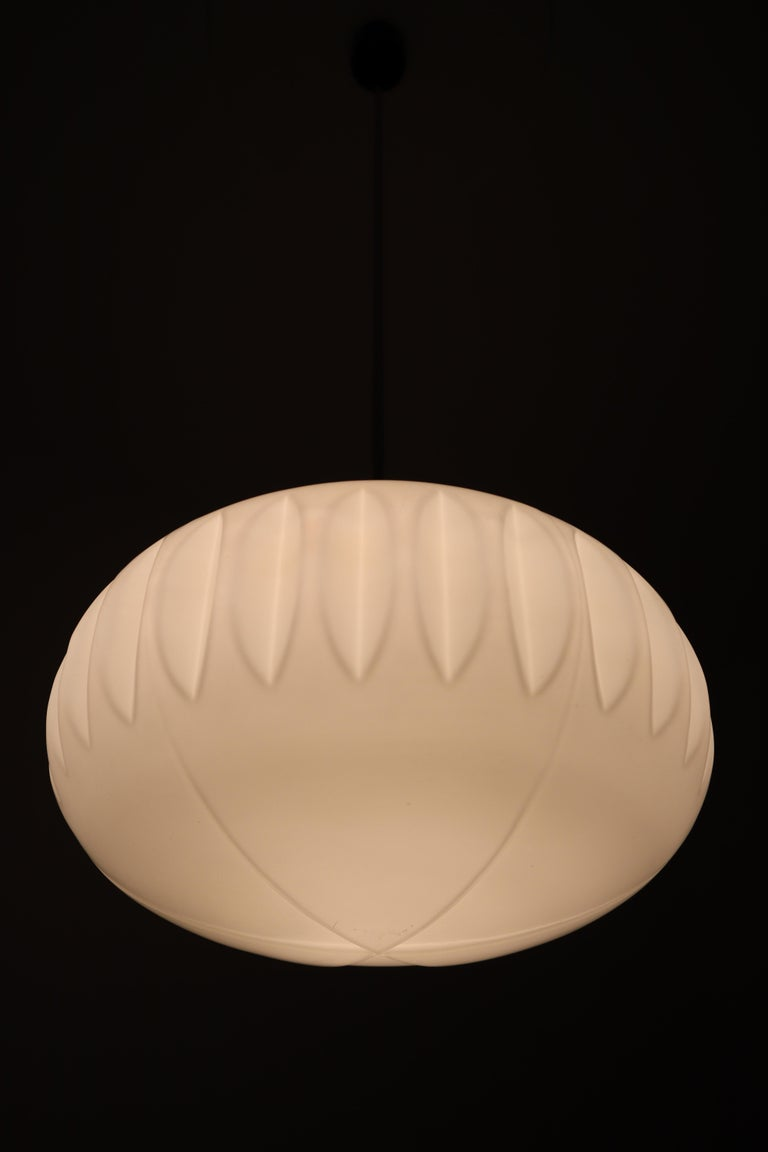Large Midcentury Pendants, Structured Opaline Glass, Europe, 1960s For Sale 1