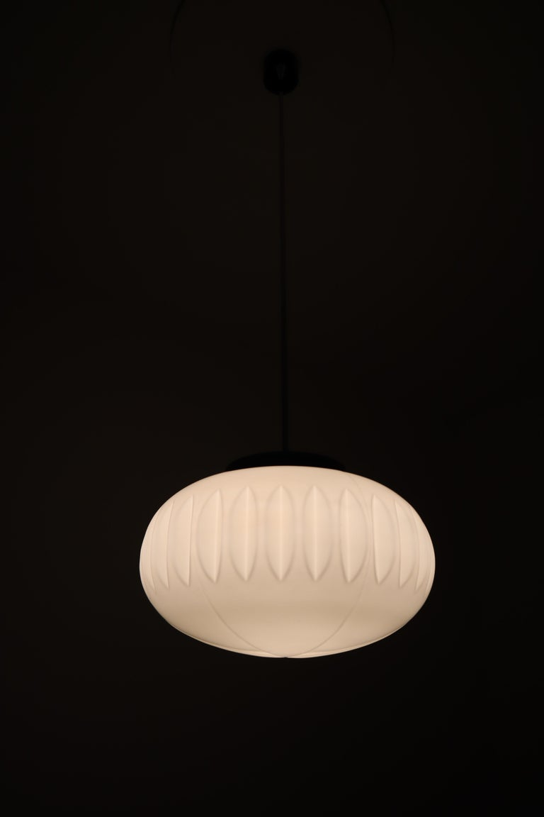 Large Midcentury Pendants, Structured Opaline Glass, Europe, 1960s For Sale 3