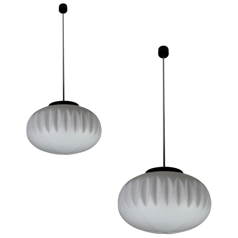 Large Midcentury Pendants, Structured Opaline Glass, Europe, 1960s For Sale