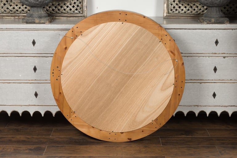 Large Midcentury Pine Bullseye Mirror with Brown Patina and Molded Accents For Sale 2