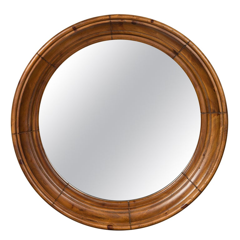 Large Midcentury Pine Bullseye Mirror with Brown Patina and Molded Accents For Sale