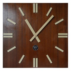 Large Midcentury Pragotron Industrial Wooden Wall Clock Type PPH 410, 1980s