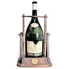 Large Mid-Century Remy Martin Wooden Bottle Tipper Cognac Display Dispenser