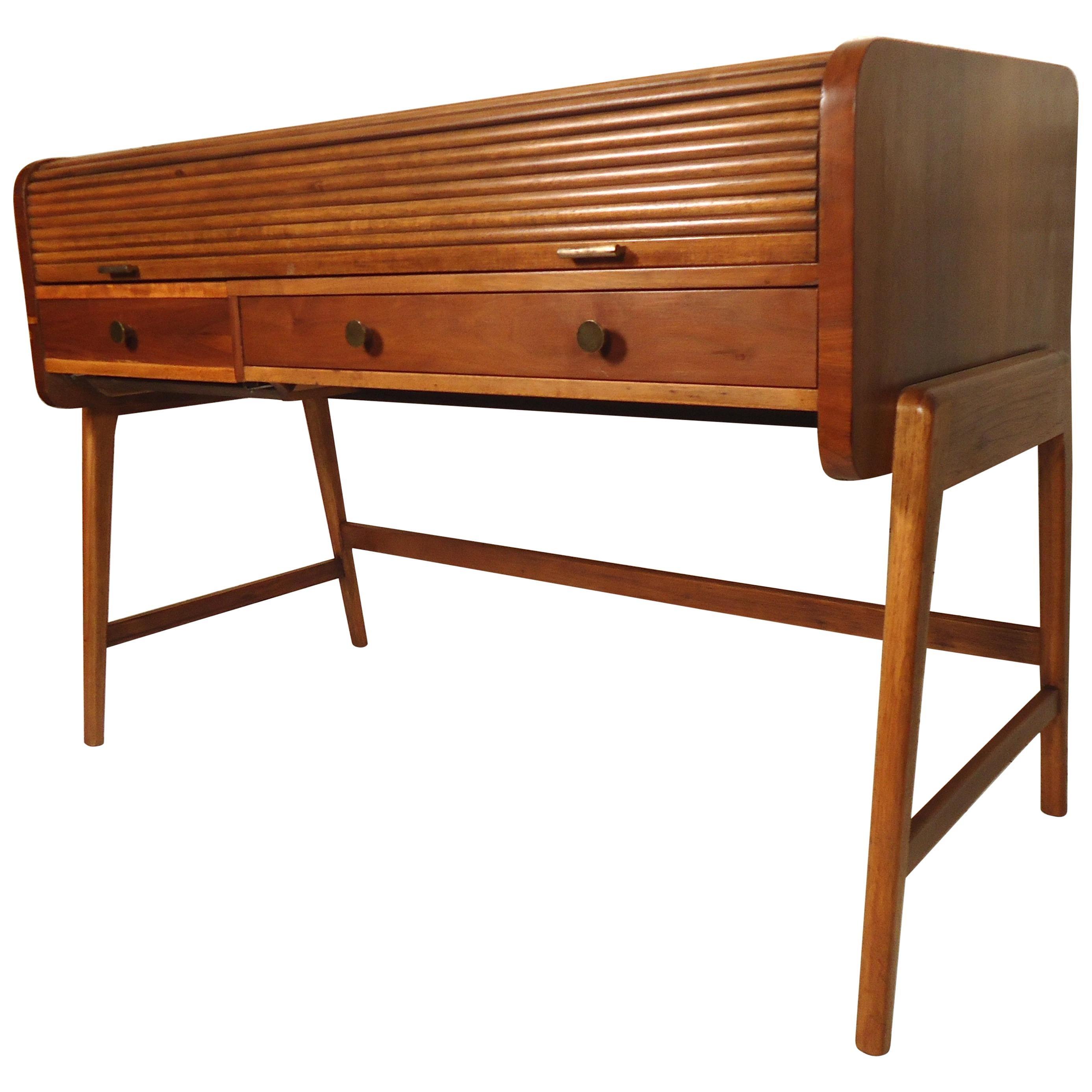 Large Midcentury Roll Top Desk