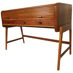 Large Midcentury Roll Top Desk