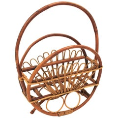 Large Midcentury Round Bamboo and Rattan Franco Albini Handle Magazine Rack
