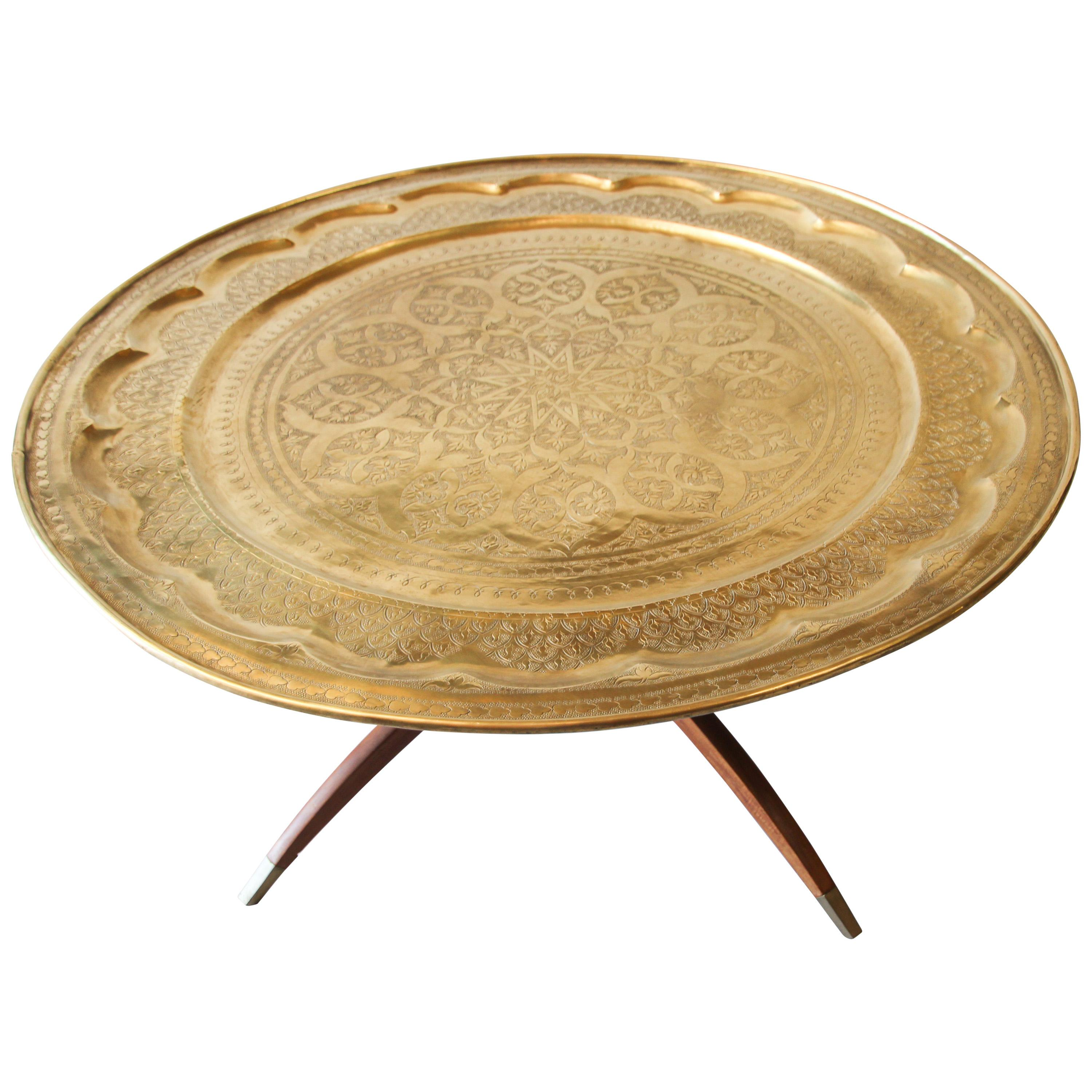 Large Midcentury Round Brass Tray Table on Folding Stand