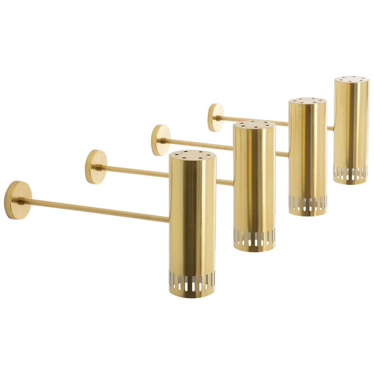 Large Midcentury Scandinavian Brass Wall Lamps by Boréns For Sale