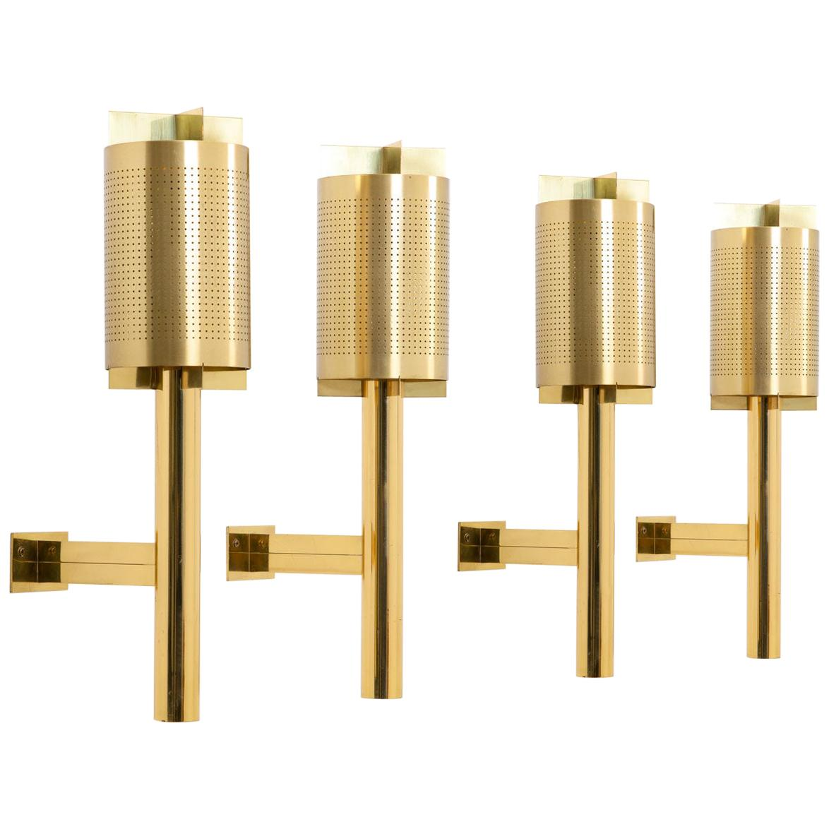 Large Midcentury Scandinavian Wall Sconces in Perforated Brass