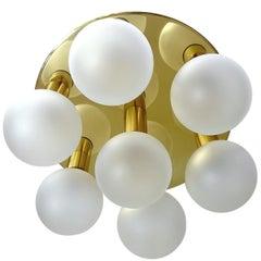 Large Midcentury Seven Lights Brass Flush Light,  Stilnovo Gio Ponti Era