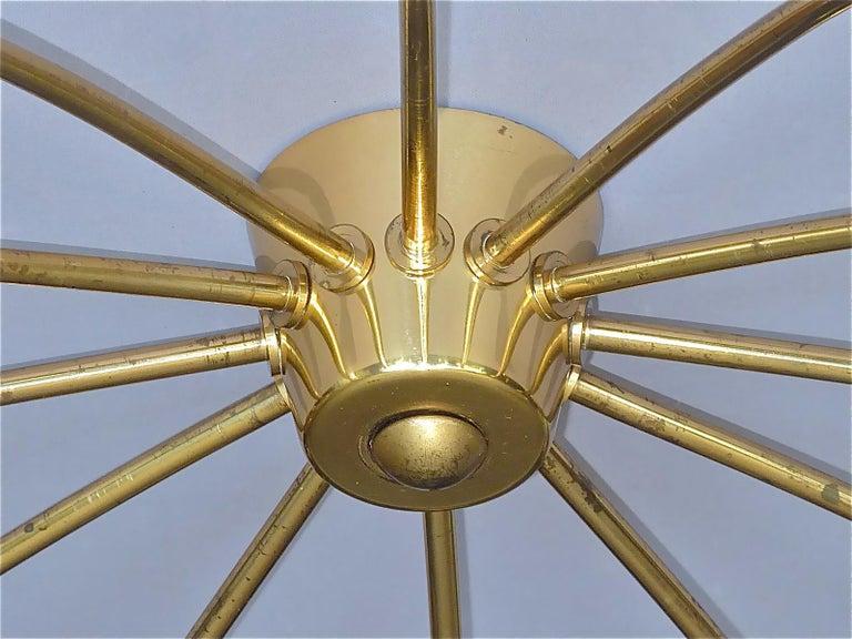 Large Midcentury Sputnik Flush Mount Brass Ceiling Lamp Kaiser Kalmar Stilnovo For Sale 3