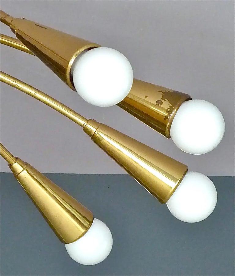 Large Midcentury Sputnik Flush Mount Brass Ceiling Lamp Kaiser Kalmar Stilnovo For Sale 4