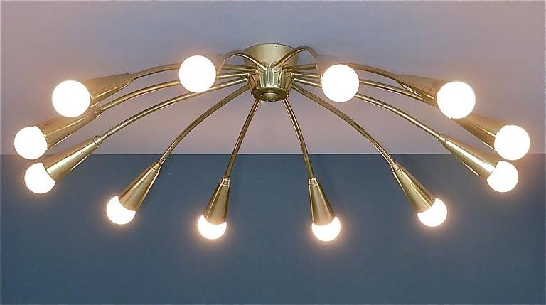 Large Midcentury Sputnik Flush Mount Brass Ceiling Lamp Kaiser Kalmar Stilnovo For Sale 6